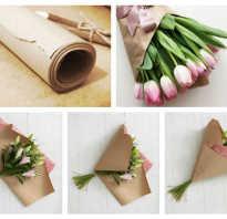 Как упаковать цветы в бумагу фото пошагово