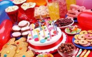Детский стол на день рождения меню