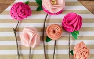 Цветы из фетровой бумаги