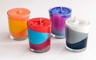 Как сделать разноцветную свечу